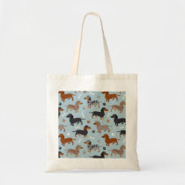 Dachshund Paws and Bones Pattern Blue Tote Bag