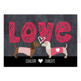 Dachshund Personalized Valentines Day Card