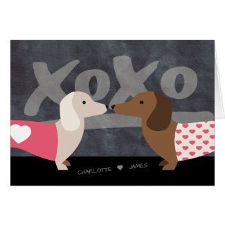 Dachshund Personalized xoxo Valentines Day Card