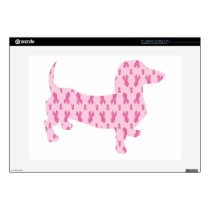 "Dachshund Pink Ribbon for Cancer 15"" Laptop Skins"