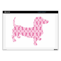 Dachshund Pink Ribbon for Cancer Laptop Skin