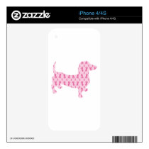 Dachshund Pink Ribbon for Cancer Skin For iPhone 4S