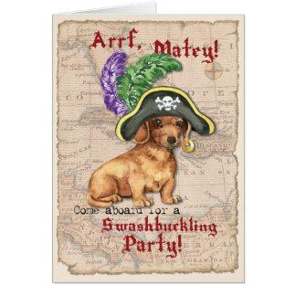 Dachshund Pirate Card
