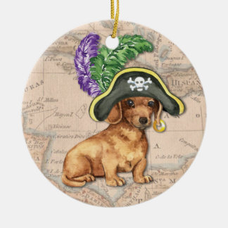Dachshund Pirate Ceramic Ornament