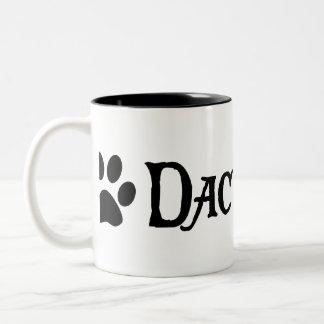 Dachshund (pirate style w/ pawprint) Two-Tone coffee mug