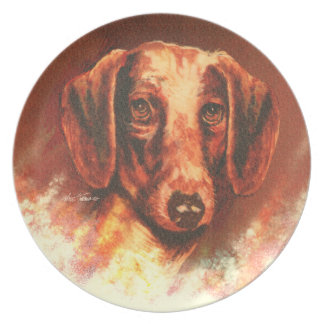 Dachshund portrait by Nate Owens Dinner Plate