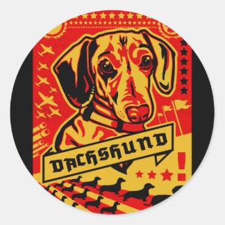 Dachshund Propaganda Classic Round Sticker