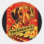 Dachshund Propaganda Round Stickers