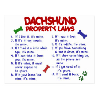 Dachshund Property Laws 2 Post Cards
