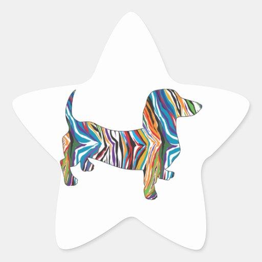 Dachshund psicodélico retro pegatinas forma de estrellaes personalizadas