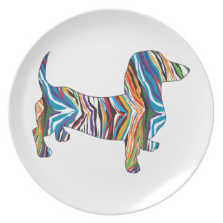 Dachshund - Psychedelic Zbra Doxie Dinner Plate