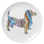 Dachshund - Psychedelic Zbra Doxie Party Plates