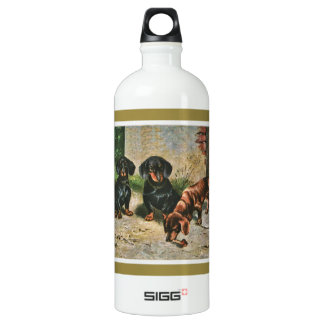 Dachshund Puppies Aluminum Water Bottle