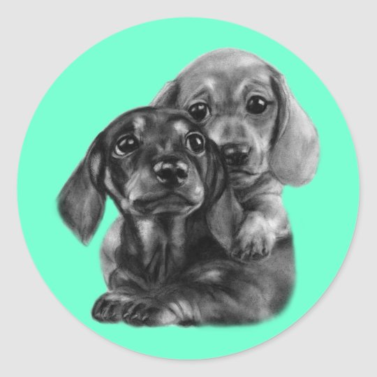 Dachshund Puppies Drawing Classic Round Sticker