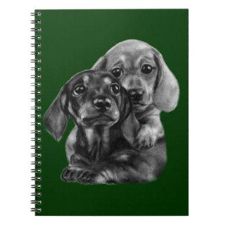 Dachshund Puppies Drawing Spiral Notebook