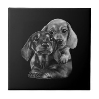 Dachshund Puppies Drawing Tile