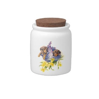 Dachshund Puppies in Blanket with Daffodils Candy Jar