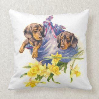 Dachshund Puppies in Blanket with Daffodils Throw Pillows