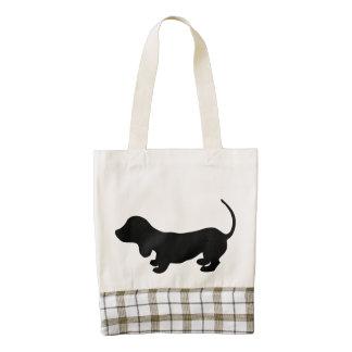 Dachshund puppy dog black silhouette cute doxie zazzle HEART tote bag