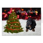 Dachshund puppy dog custom holiday Christmas Card