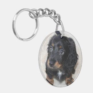 Dachshund puppy dog cute beautiful photo keychain