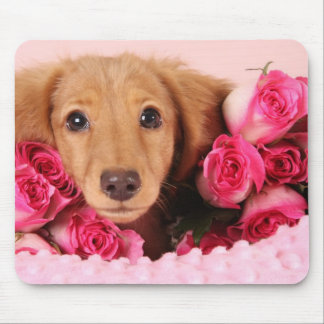 Dachshund Puppy Surrounded by Roses Mouse Pad