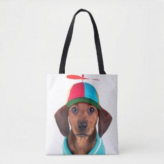 Dachshund Puppy Wearing Propeller Hat Tote Bag