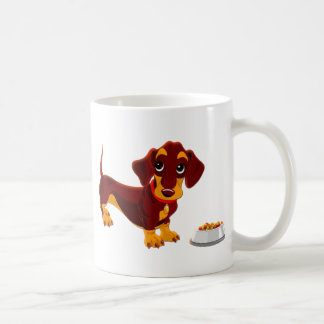 Dachshund Puppy with Food Bowl Coffee Mug