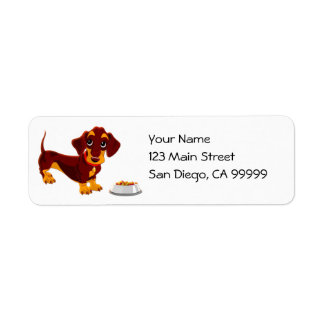 Dachshund Puppy with Food Bowl Label