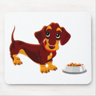 Dachshund Puppy with Food Bowl Mouse Pad