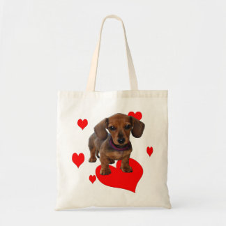 DACHSHUND Puppy with Hearts Budget Tote Bag