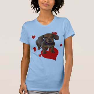 DACHSHUND Puppy with Hearts Front Printing Shirt