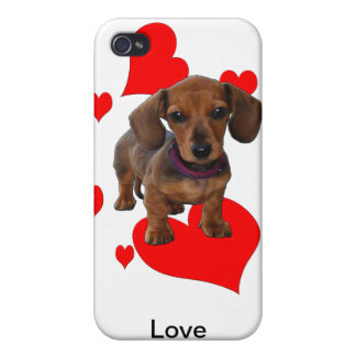 DACHSHUND Puppy with Hearts iPhone 4/4S Case