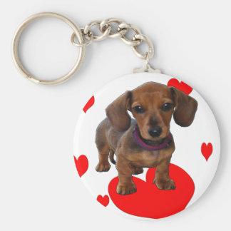 DACHSHUND Puppy with Hearts Basic Round Button Keychain