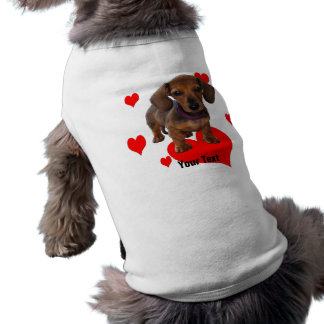 DACHSHUND Puppy with Hearts Shirt