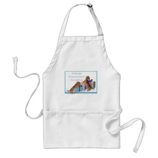 Dachshund Pups with a message Adult Apron
