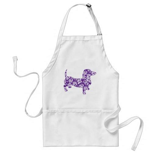Dachshund púrpura de Doxie de la hawaiana Delantales