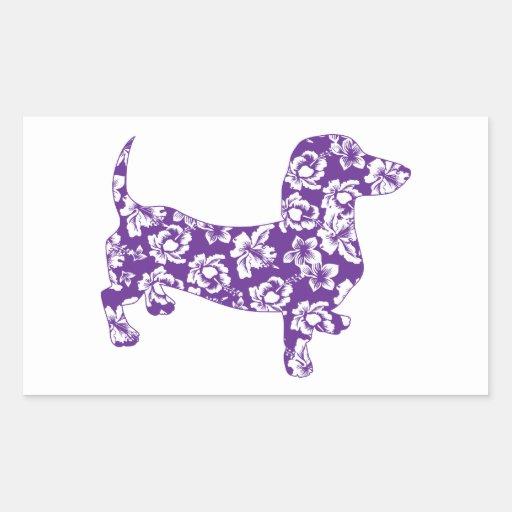 Dachshund púrpura de Doxie de la hawaiana Rectangular Pegatinas