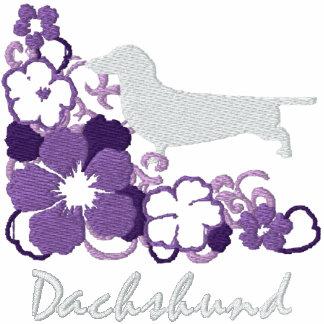 Dachshund púrpura del hibisco sudadera con serigrafia