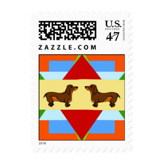 Dachshund Quilt Square Postage
