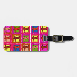 Dachshund Quilt Tiled Dogs edit name Bag Tag