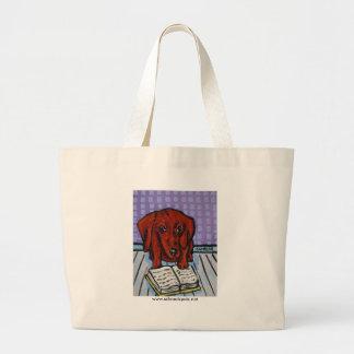 Dachshund Reading a Book Canvas Bag