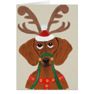Dachshund Reindeer Card