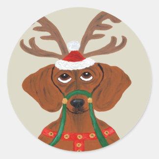 Dachshund Reindeer Classic Round Sticker