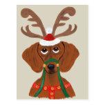 Dachshund Reindeer Post Card