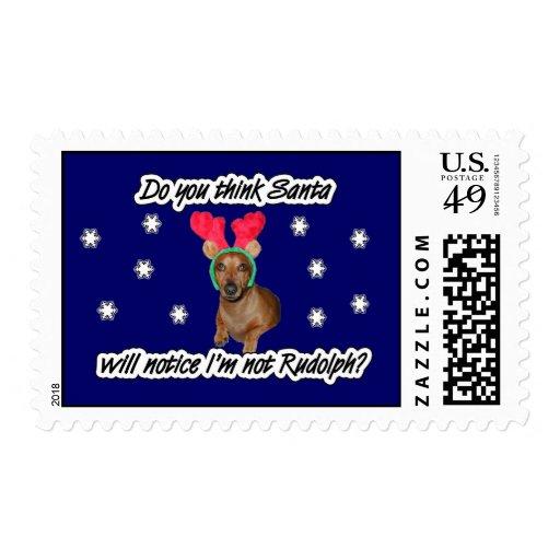 Dachshund Reindeer Postage Stamps