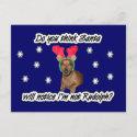 Dachshund Reindeer Postcard postcard