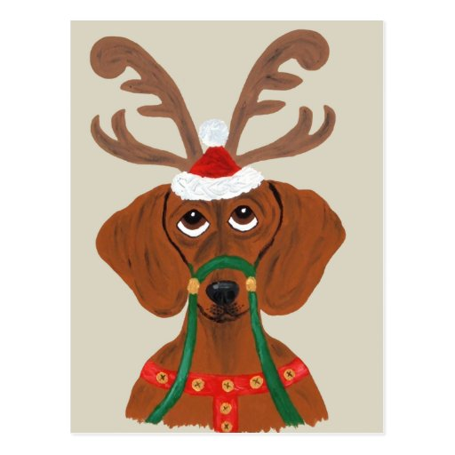 Dachshund Reindeer Postcard