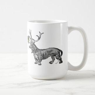 Dachshund Reindeer w Mistletoe Vintage Christmas Coffee Mug