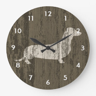 Dachshund resistido reloj redondo grande